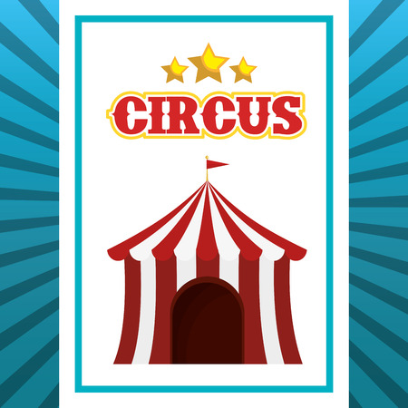 event party festive: red and white striped tent circus with stars icons. colorful design. vector illustration Illustration