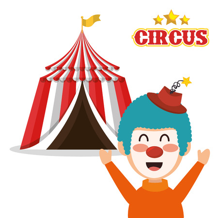 event party festive: red and white striped tent circus  and happu clown icon. colorful design. vector illustration