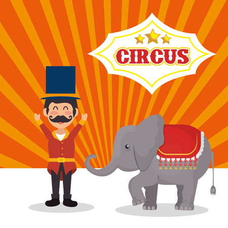 playfull: circus elephant and happy man festival show over white and orange background. colorful design. vector illustration