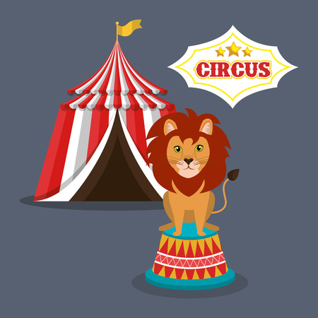 event party festive: lion and red and white striped tent circus icon over gray background. colorful design. vector illustration Illustration