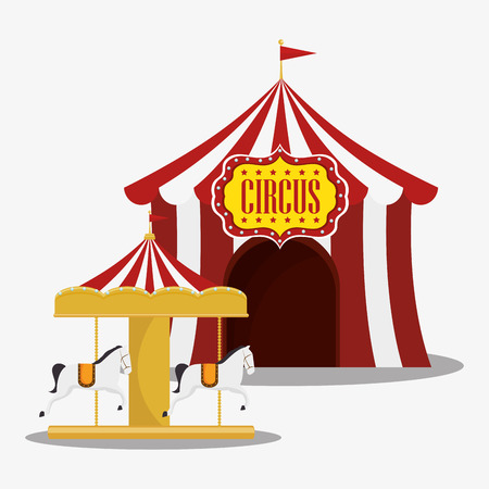 event party festive: red and white striped tent and carousel circus icon. colorful design. vector illustration Illustration