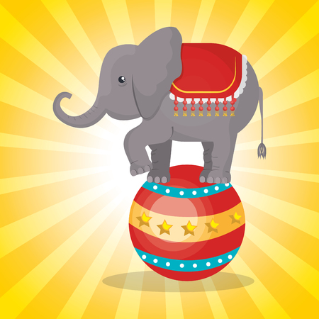 playfull: circus elephant festival show over yellow background. vector illustration
