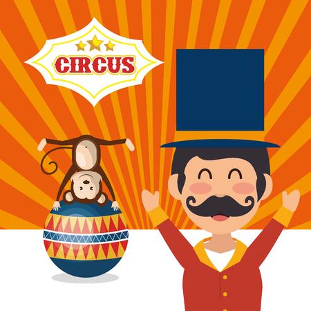 monkey and avatar happy man announcer circus festival over orange background. colorful design. vector illustration Illustration