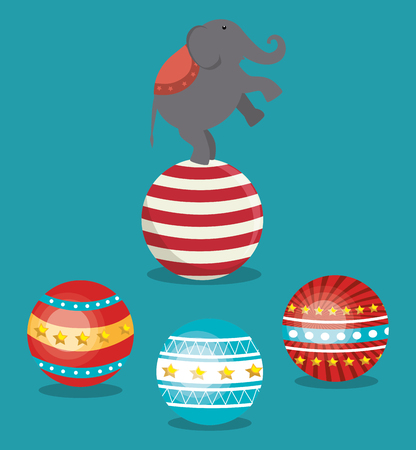 playfull: balls and circus elephant festival show over blue background. colorful design. vector illustration Illustration