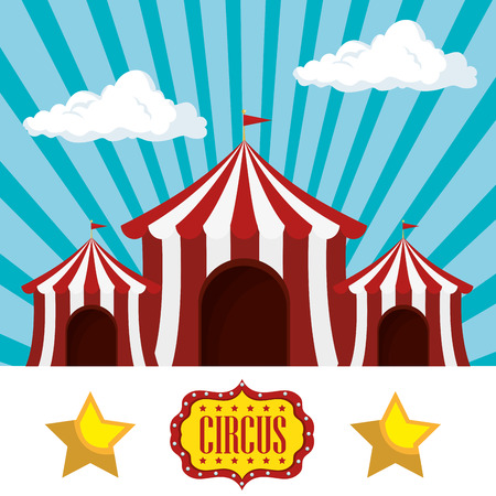 event party festive: red and white striped tent circus  icon over blue background. colorful design. vector illustration