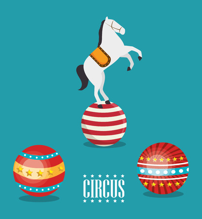 horse show: balls and horse circus festival show over blue background. colorful design. vector illustration