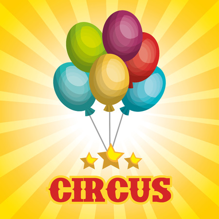 event party festive: colorful balloons circus decorations over yellow background. vector illustration