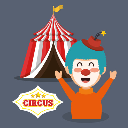 the performer: red and white striped tent circus  and happu clown icon. colorful design. vector illustration