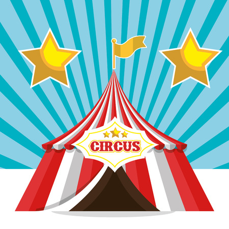 event party festive: red and white striped tent circus icon. colorful design. vector illustration