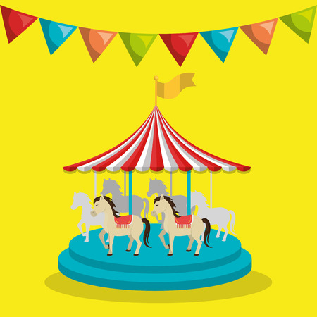 carousel horses circus atraction over yellow background. colorful design. vector illustration