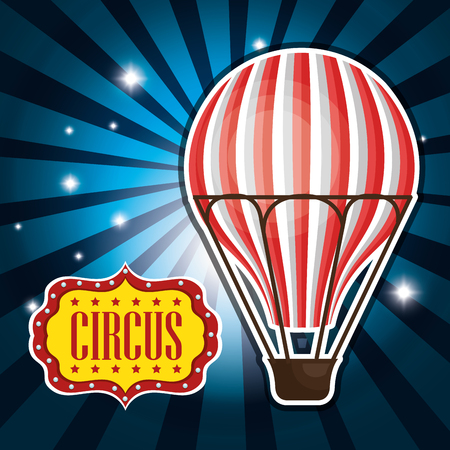 event party festive: air balloon circus decoration over blue background. vector illustration