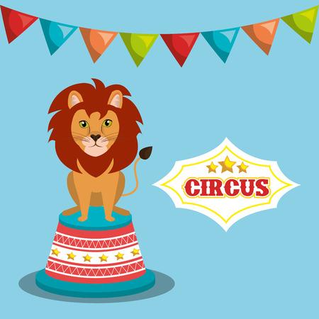event party festive: lion cartoon circus festival show over blue background. colorful design. vector illustration