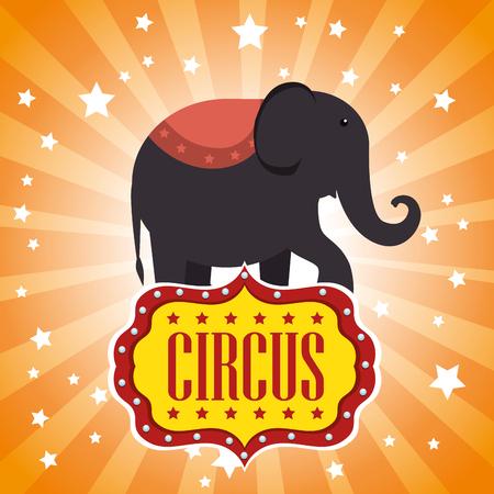 playfull: circus elephant festival show over orange background. vector illustration