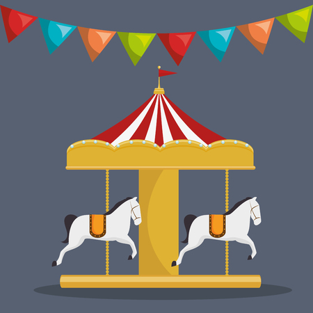 carousel horses circus atraction over gray background. colorful design. vector illustration
