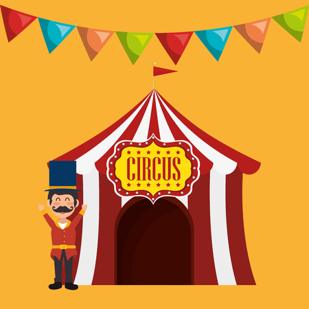 event party festive: avatar happy man with red and white striped tent circus icon over yellow background. colorful design. vector illustration