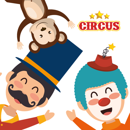 event party festive: avatar happy man announcer with monkey and clown circus festival characters over white background. colorful design. vector illustration Illustration