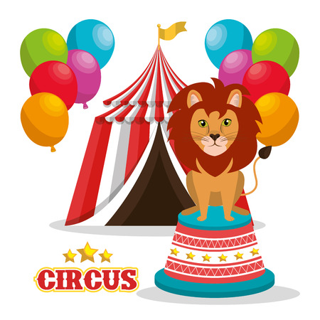 event party festive: lion and red and white striped tent circus icon with balloons over white background. colorful design. vector illustration