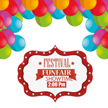 event party festive: circus festival funfair card with colorful balloons over white background. vector illustration