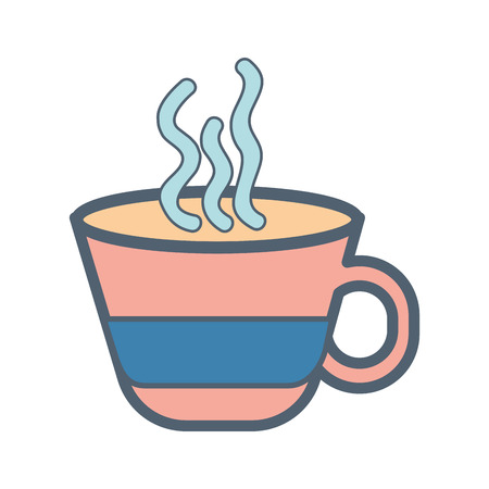 caffeine: hot coffee mug caffeine drink over white background. vector illustration