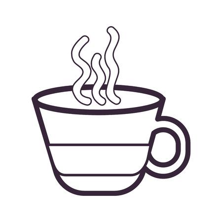 coffee mug: hot coffee mug caffeine drink over white background. vector illustration