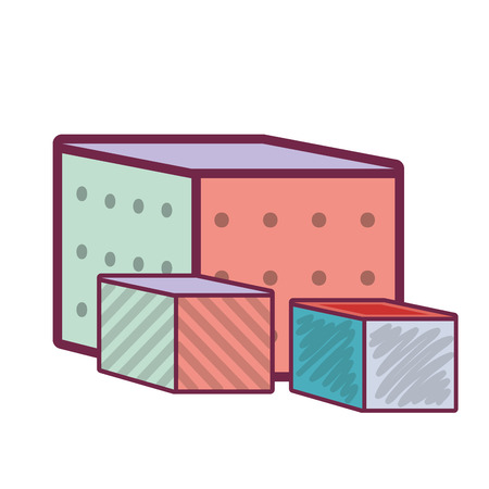 tessera: colorful cubes baby toy icon over white background. vector illustration