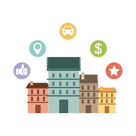 cityscape with social marketing icons vector illustration design Illustration