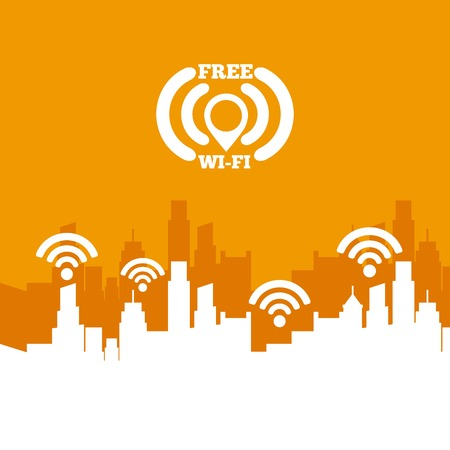 cityscape with wifi service vector illustration design Illustration