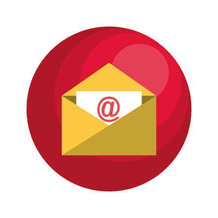 arroba: envelope email with arroba symbol vector illustration design