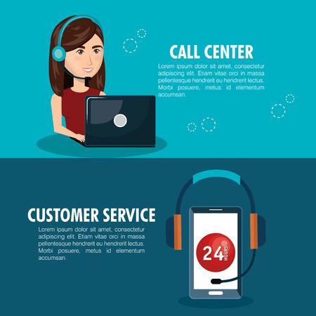 call centre girl: customer service agent working online vector illustration design Illustration