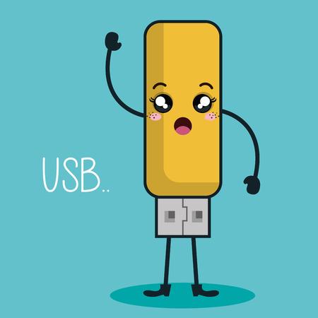 usb memory: usb memory character kawaii style vector illustration design