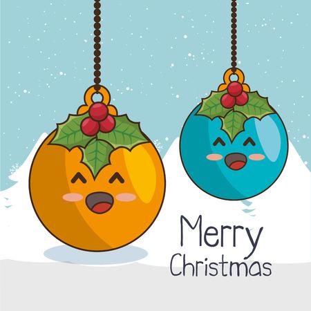 hung: christmas balls character kawaii style vector illustration design