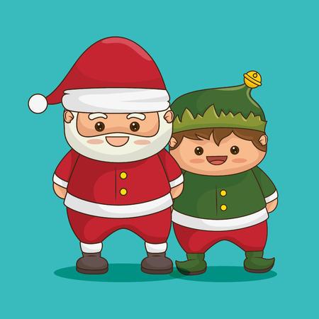 santa helper: merry christmas characters kawaii style vector illustration design