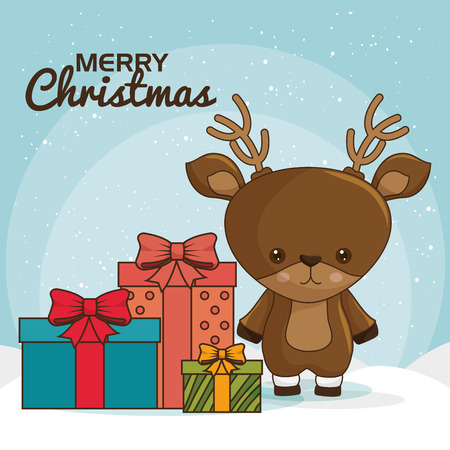 merry christmas characters kawaii style vector illustration design