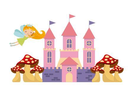 cute pink fantasy castle vector illustration design