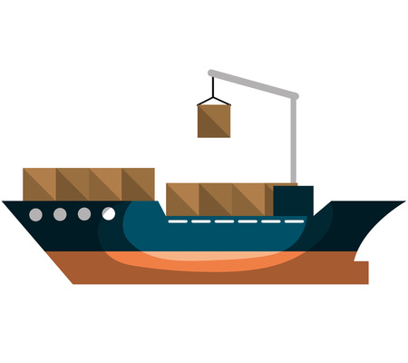 import trade: cargo ship delivery service vector illustration design