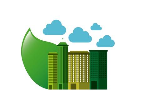 city green ecology cityscape vector illustration design