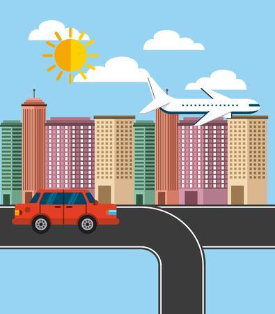 cityscape buildings skyline background vector illustration design Illustration