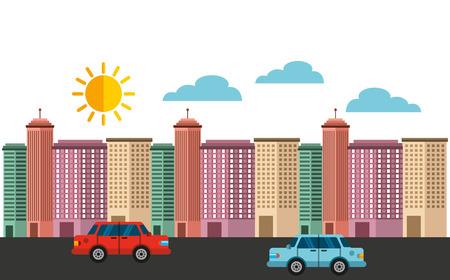 modern illustration: cityscape buildings skyline background vector illustration design Illustration