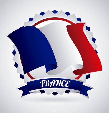 french culture: france flag classic culture vector illustration design