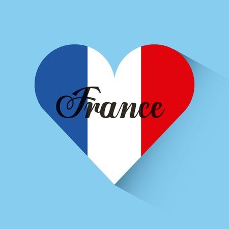 Liebe Design Frankreich Herz Reise Vektor-Illustration