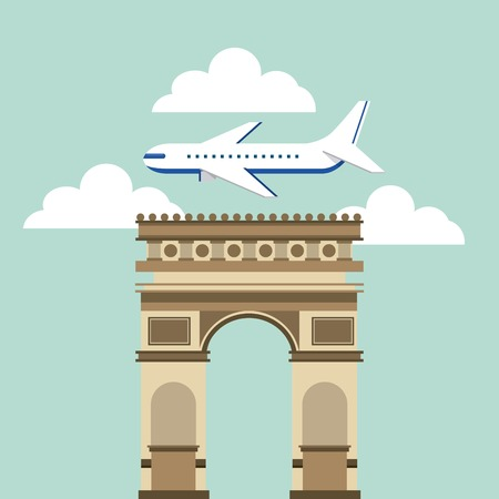 french culture: Arch of Triumph travel icons vector illustration design Illustration
