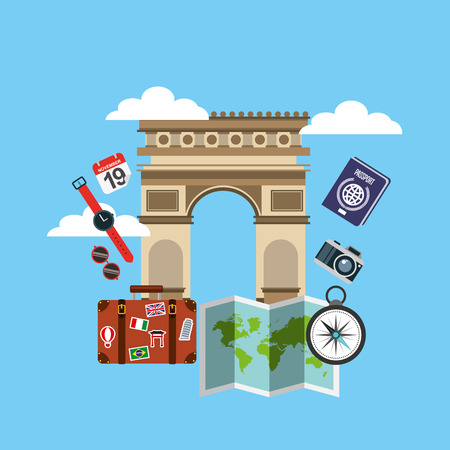 triumphal: Arch of Triumph travel icons vector illustration design Illustration