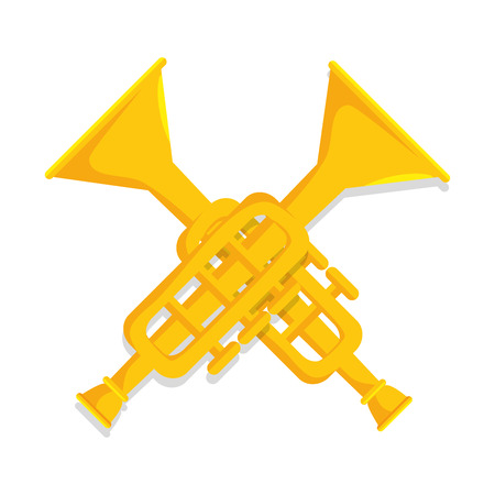 trumpets classic instrument music icon vector illustration