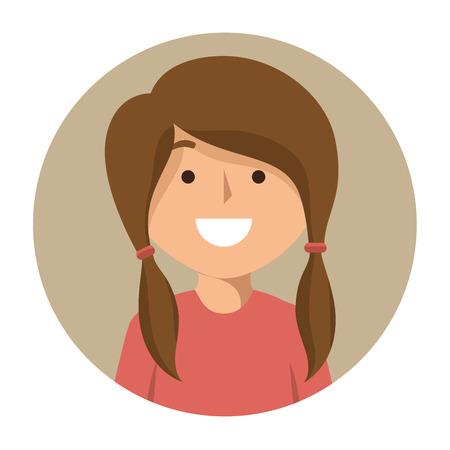 cartoon school girl: cartoon girl student school happy icon vector illustration