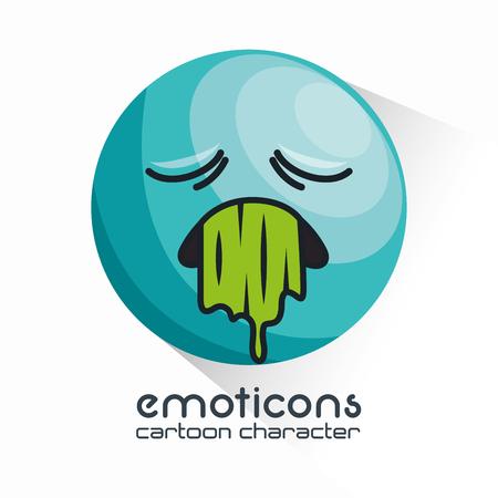 awkward: emoticon vomiting sad design vector illustration