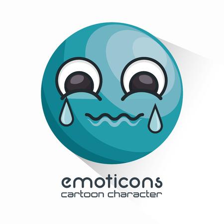 sobbing: emoticon crying face icon vector illustration Illustration