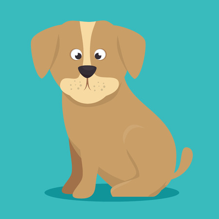 lonesome: puppy beige color icon background vector illustration Illustration