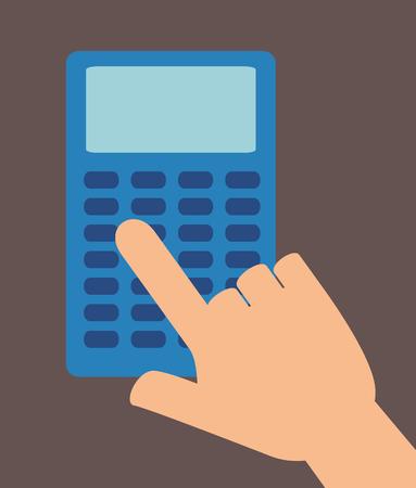unrecognizable person: hand touch calculator education design vector illustration