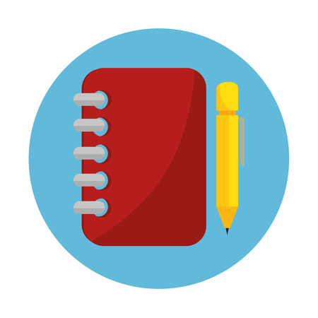 spiral notebook: notebook spiral with pencil education online icon vector illustration