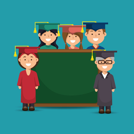group students young and elder with board education online vector illustration